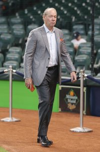 Owner Jim Crane of the Houston Astros looks on prior to game one of the American League Division Series between the Houston Astros and the Tampa Bay Rays at Minute Maid Park on October 04, 2019 in Houston, Texas. (Credit: Bob Levey/Getty Images)