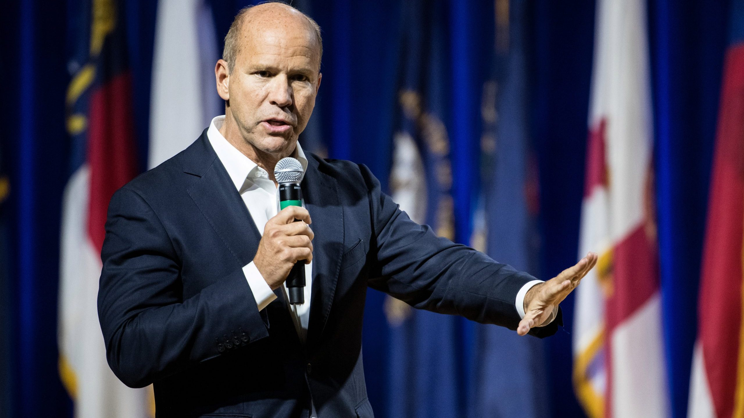 John Delaney addresses the audience at the Environmental Justice Presidential Candidate Forum at South Carolina State University on Nov. 8, 2019, in South Carolina. (Credit: Sean Rayford/Getty Images)