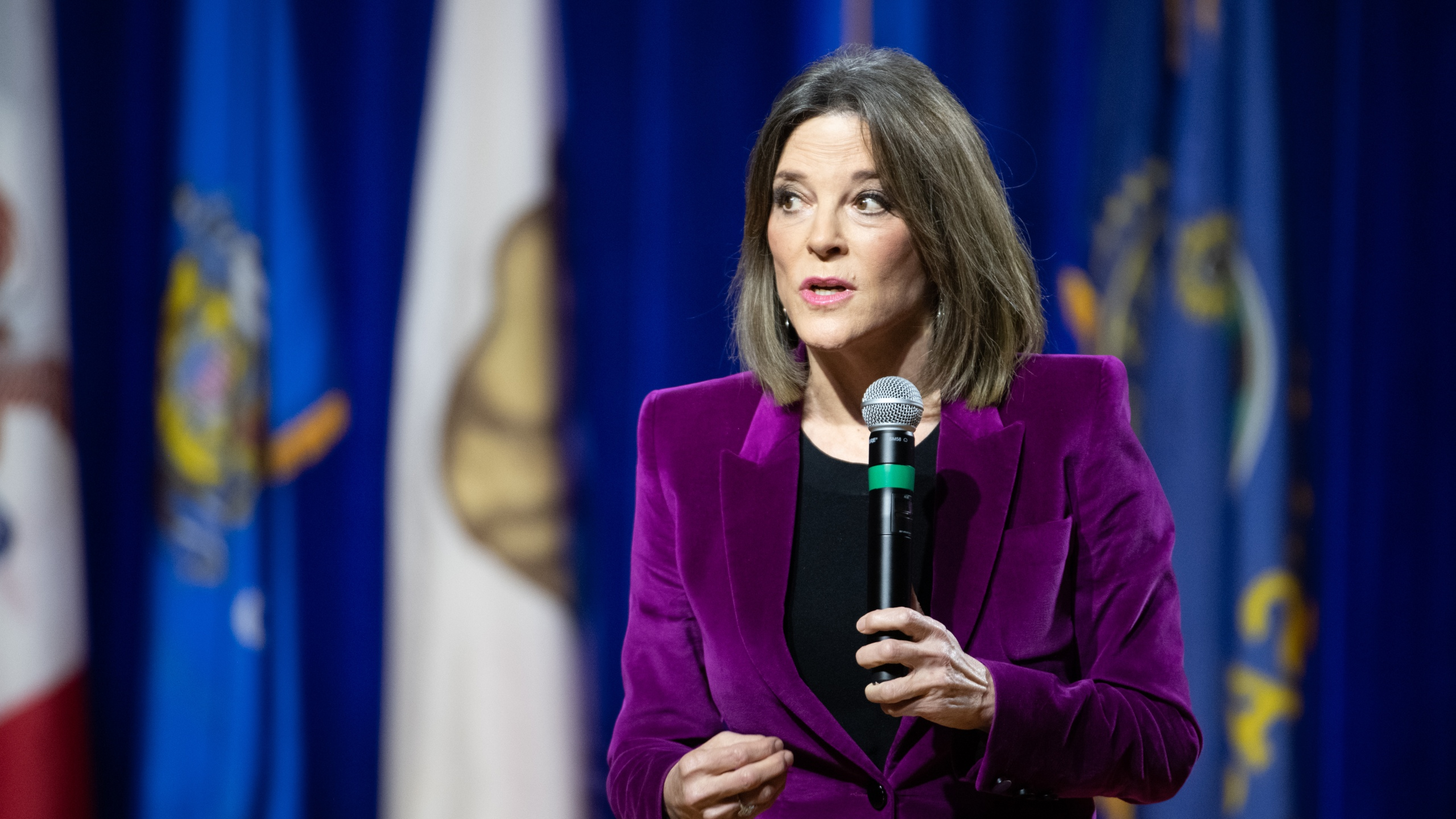 Democratic presidential candidate and author Marianne Williamson addresses the audience at the Environmental Justice Presidential Candidate Forum at South Carolina State University on Nov. 8, 2019. (Credit: Sean Rayford / Getty Images)
