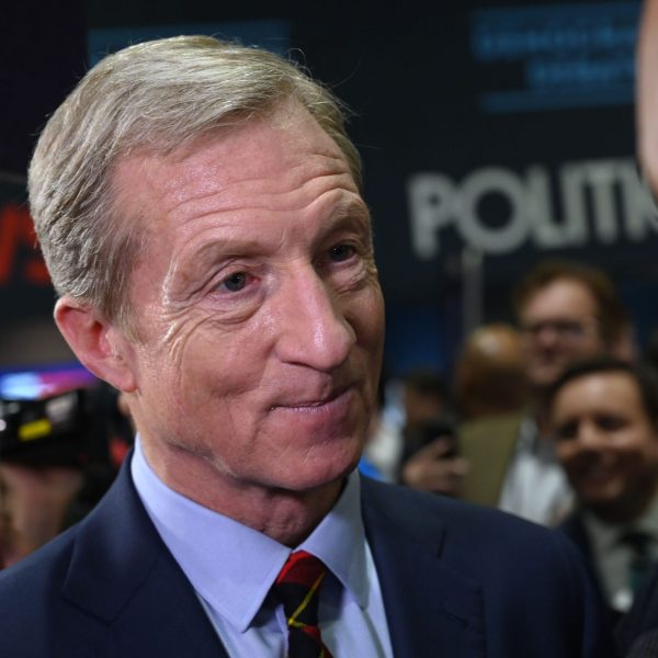 Democratic presidential hopeful and billionaire Tom Steyer speaks to press after the sixth primary debate at Loyola Marymount University on Dec. 19, 2019. (Credit: Robyn Beck / AFP / Getty Images)