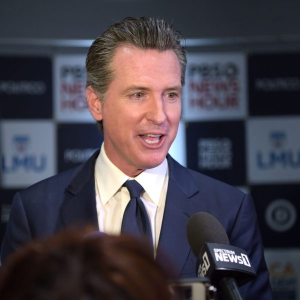 California Gov. Gavin Newsom speaks to press after the sixth Democratic presidential primary debate at Loyola Marymount University on Dec. 19, 2019. (Credit: Agustin Paullier / AFP / Getty Images)