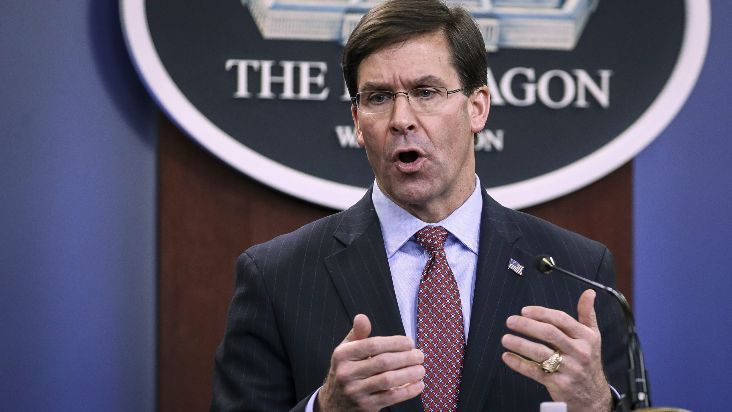 Secretary of Defense Mark Esper holds an end of year press conference at the Pentagon in Arlington, Virginia, on Dec. 20, 2019. (Credit: Drew Angerer / Getty Images)