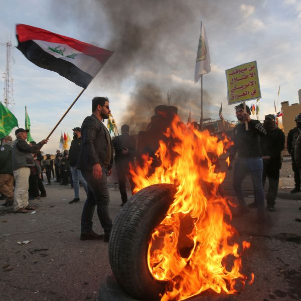 Supporters of Iraq's Hashed al-Shaabi paramilitary force protest outside the U.S. embassy in the Iraqi capital Baghdad on Jan. 1, 2020, to condemn the U.S. air strikes that killed 25 Hashed fighters over the weekend. (Credit: AHMAD AL-RUBAYE/AFP via Getty Images)