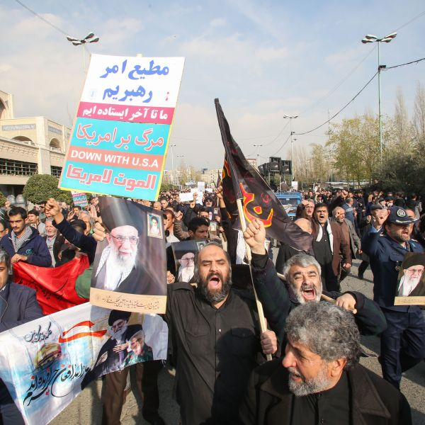 Iranians demonstrate in the capital Tehran on January 3, 2020 following the killing of Iranian Revolutionary Guards top commander Qasem Soleimani in a US strike on his convoy at Baghdad international airport. (Credit: ATTA KENARE/AFP via Getty Images)