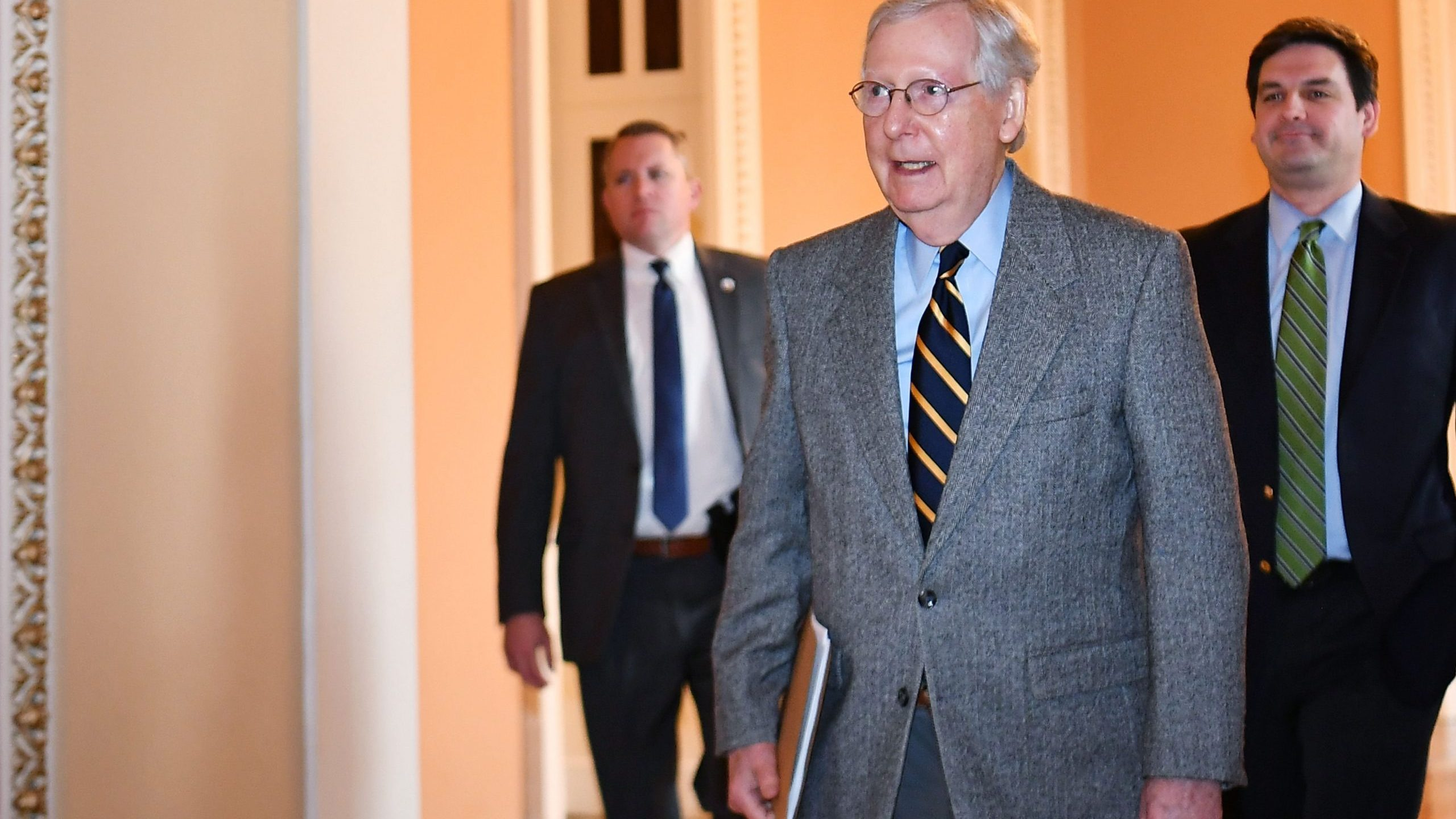 U.S. Senate Majority Leader Mitch McConnell makes his way to the Senate Chamber at the U.S. Capitol on Jan. 3, 2020. (Credit: MANDEL NGAN/AFP via Getty Images)