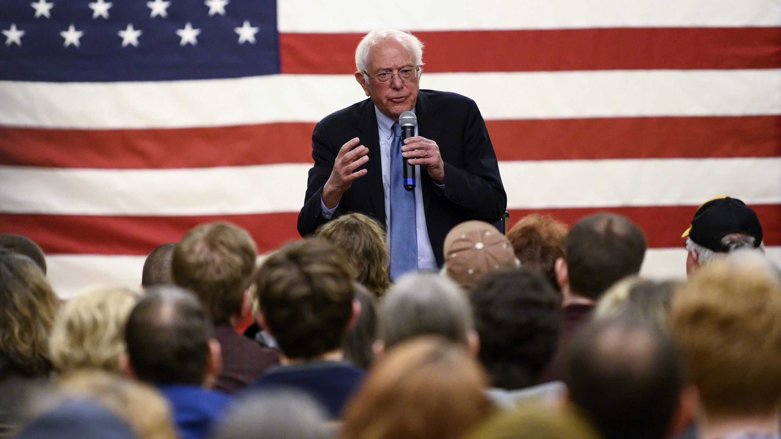 Democratic presidential candidate Sen. Bernie Sanders speaks at a town hall in Anamosa, Iowa, on Jan. 3, 2020. (Credit: Stephen Maturen / Getty Images)