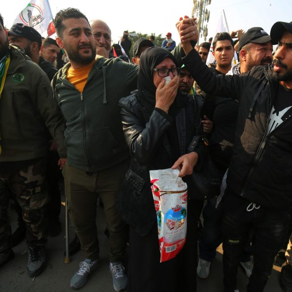 Mourners take part in the funeral procession of Iraqi paramilitary chief Abu Mahdi al-Muhandis, Iranian military commander Qasem Soleimani and eight others in the capital Baghdad's district of al-Jadriya, near the high-security Green Zone, on Jan. 4, 2020. (Credit: AHMAD AL-RUBAYE/AFP via Getty Images)