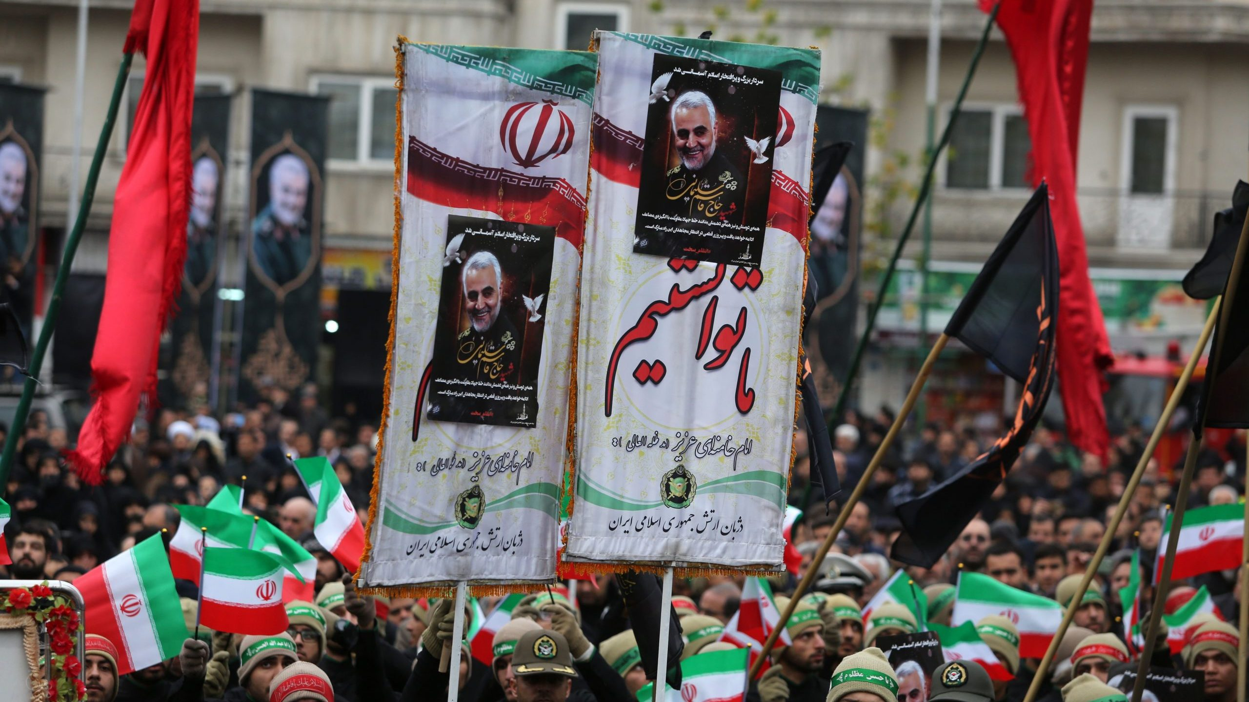 Iranians in Tehran take part in an anti-U.S. rally to protest the killing of Qassem Soleimani on Jan.4, 2020. (Credit: Atta Kenare/AFP via Getty Images)