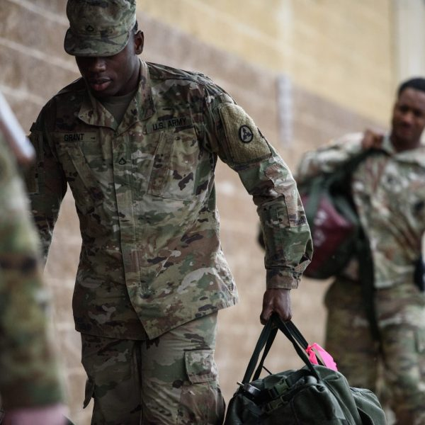 U.S. troops from the Army's 82nd Airborne Division arrive at Green Ramp for a deployment to the Middle East on Jan. 4, 2020, in Fort Bragg, North Carolina. (Credit: Andrew Craft/Getty Images)
