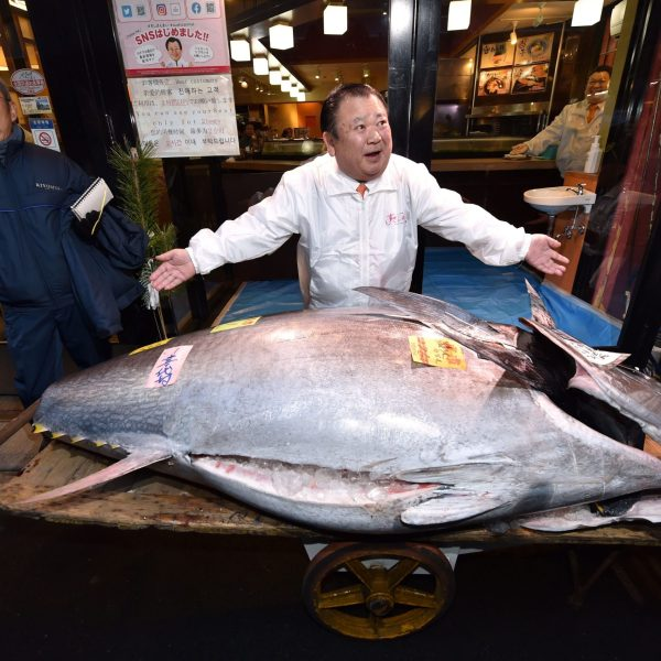Kiyoshi Kimura (C), President of Kiyomura Corp., the Tokyo-based operator of sushi restaurant chain Sushizanmai, displays a 276-kilogram bluefin tuna that fetched 193.2 million yen (1.8 million USD) at his main restaurant in Tokyo on January 5, 2020. (Credit: KAZUHIRO NOGI/AFP via Getty Images)