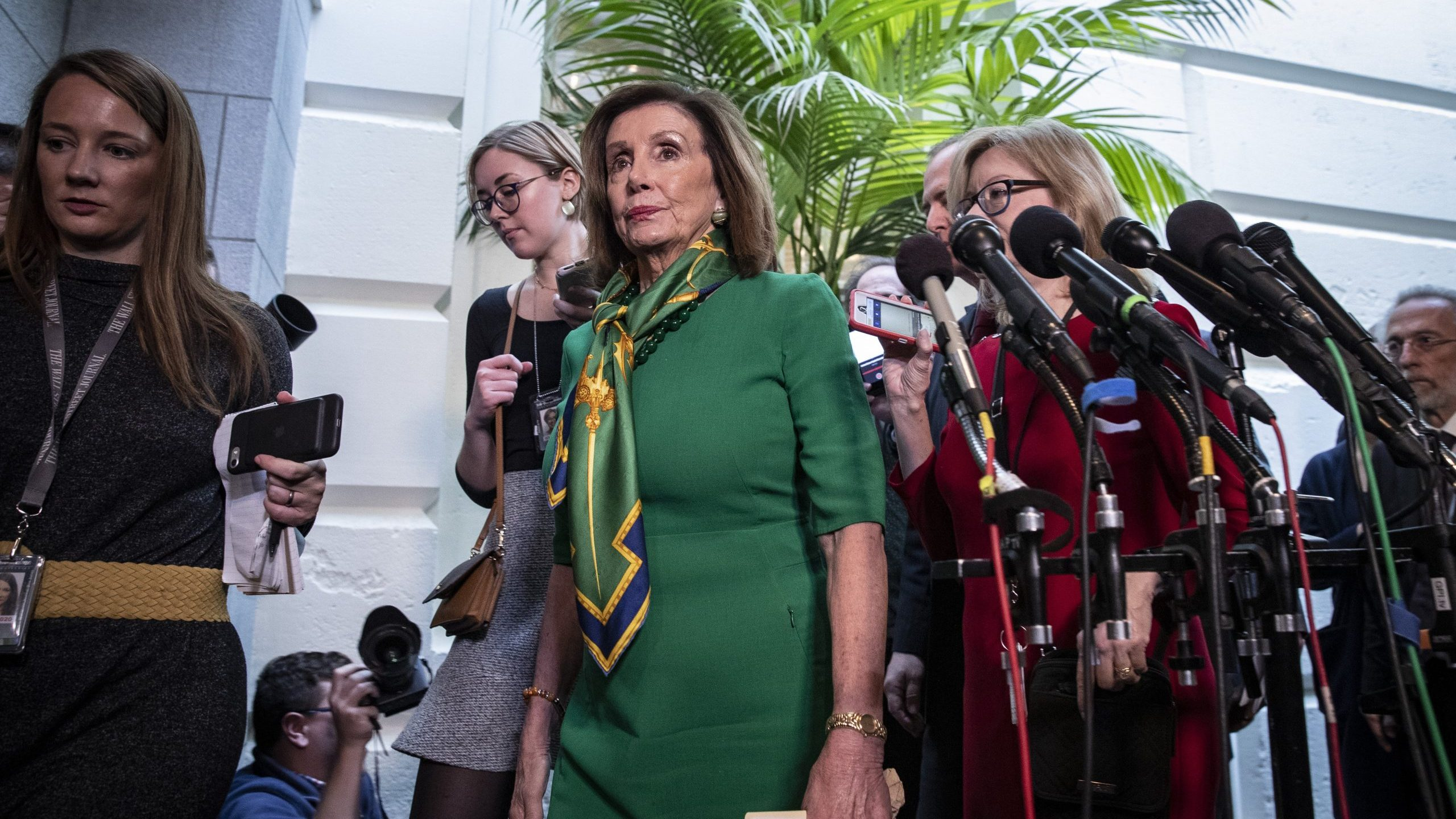 Speaker of the House Nancy Pelosi (D-CA) leaves a House Democratic Caucus meeting at the U.S. Capitol on Jan. 14, 2020 in Washington, D.C. (Credit: Drew Angerer/Getty Images)