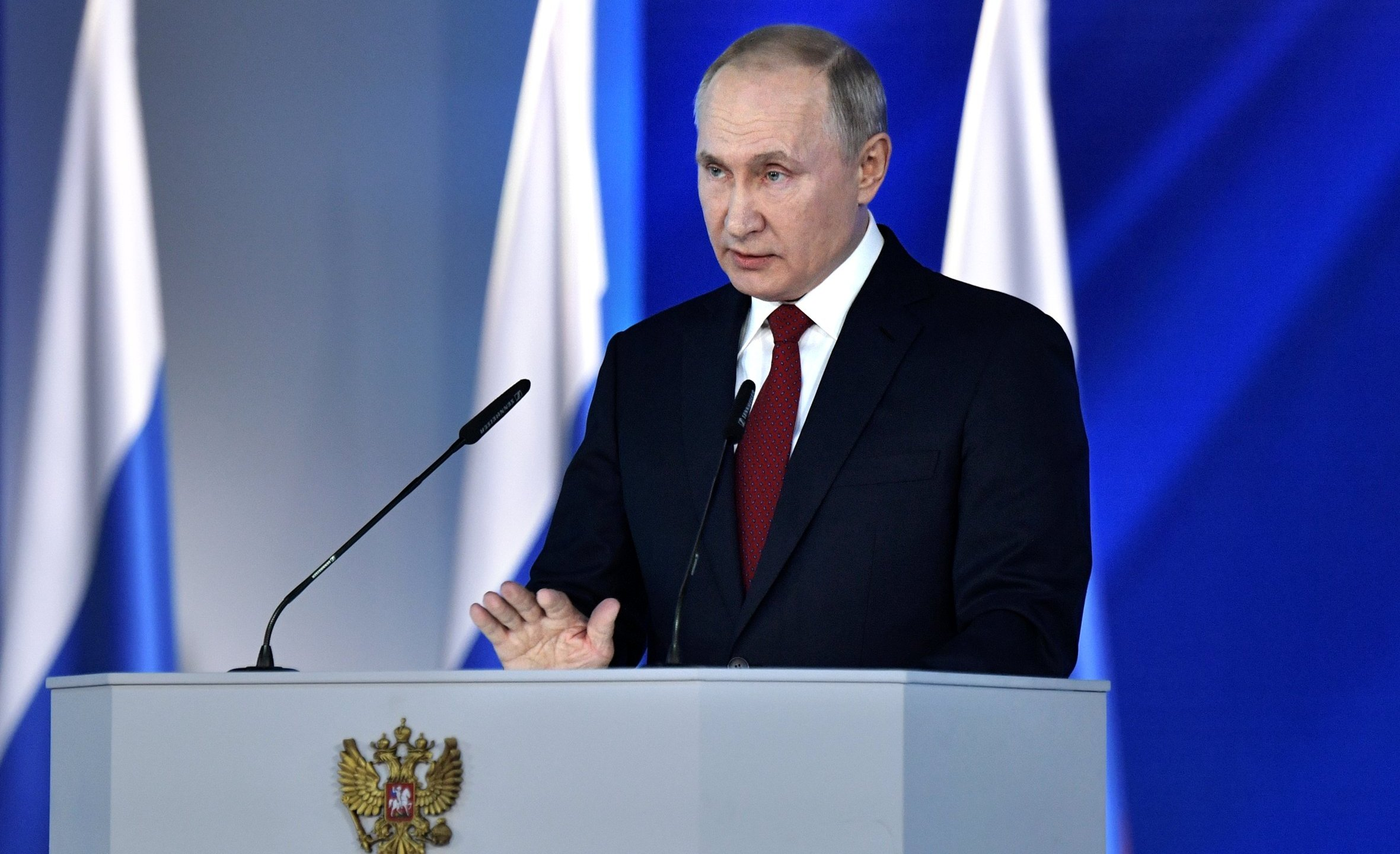 Russian President Vladimir Putin addresses the Federal Assembly at the Manezh exhibition hall in downtown Moscow on Jan. 15, 2020. (Credit: ALEXEY NIKOLSKY/SPUTNIK/AFP via Getty Images)