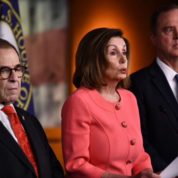 Speaker of the House Nancy Pelosi (D-CA) announces impeachment managers for the articles of impeachment against President Donald Trump on Capitol Hill on Jan. 15, 2020, in Washington, D.C. (Credit: BRENDAN SMIALOWSKI/AFP via Getty Images)