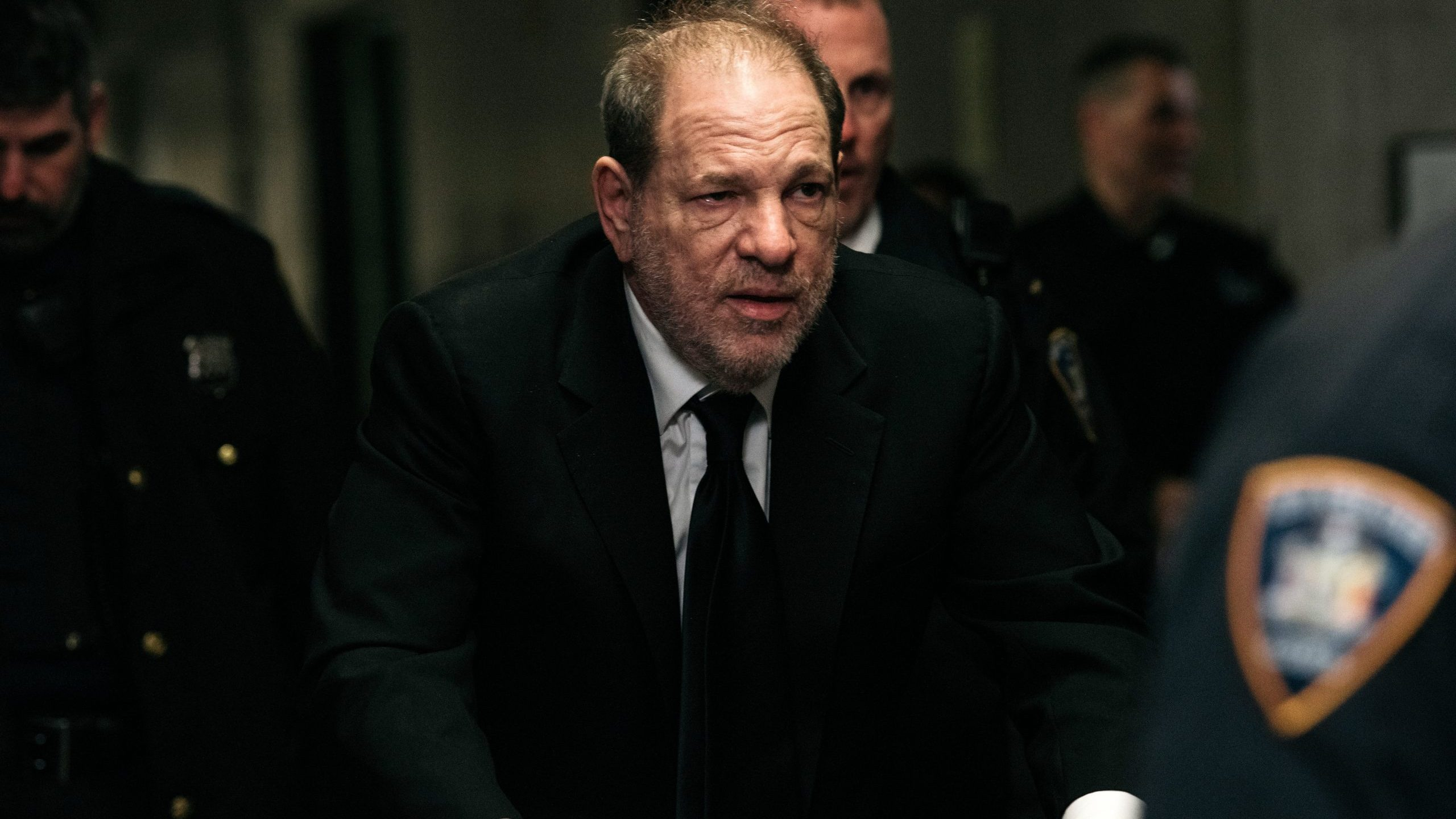 Harvey Weinstein enters New York City Criminal Court for his sex crimes trial on Jan. 16, 2020, in New York City. (Credit: Scott Heins/Getty Images)