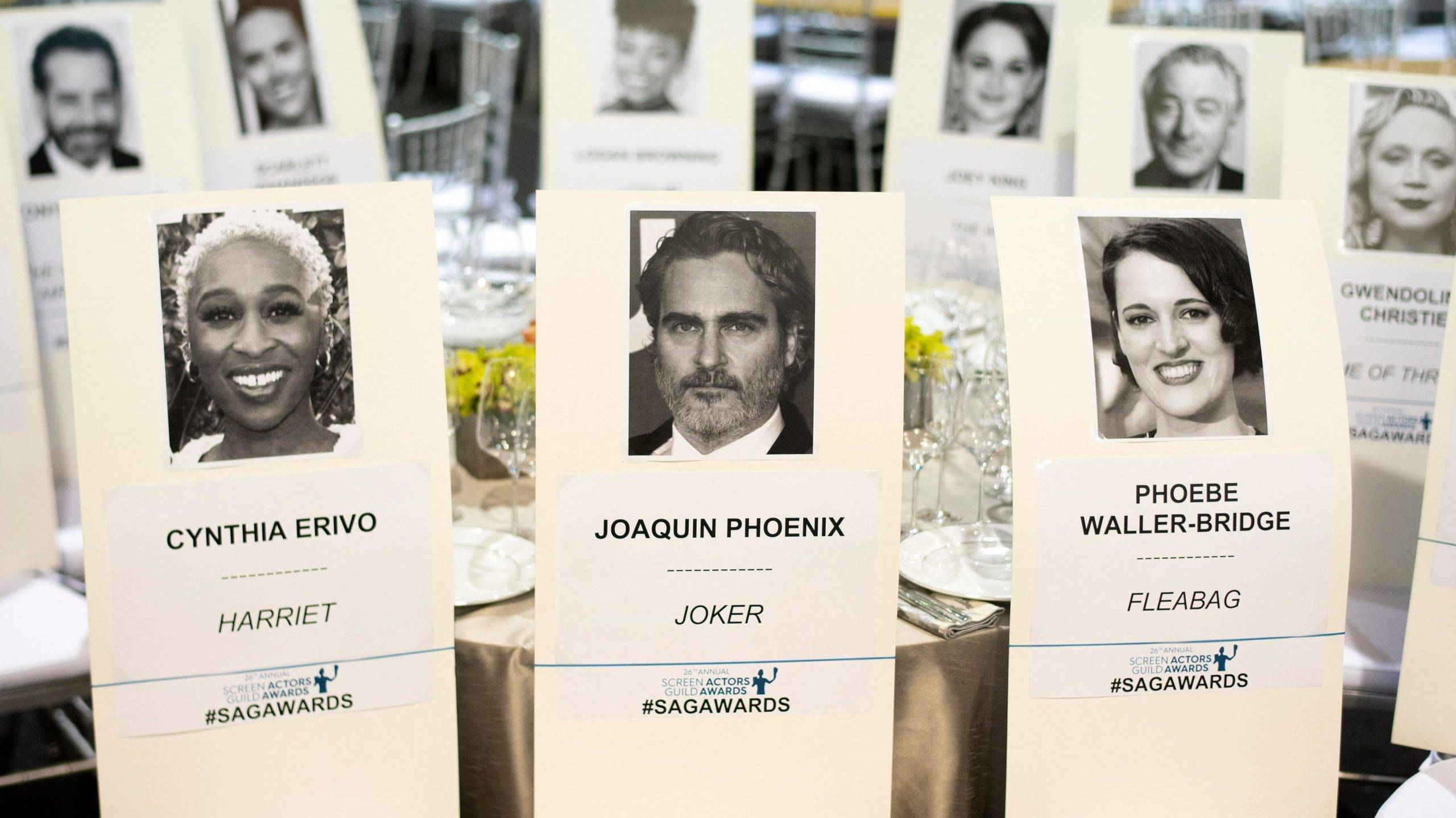 Seating cards are seen at the Silver Carpet Roll Out Event for the 26th Annual Screen Actors Guild Awards at the Shrine Auditorium, in Los Angeles on Jan. 17, 2020. (Credit: VALERIE MACON/AFP via Getty Images)