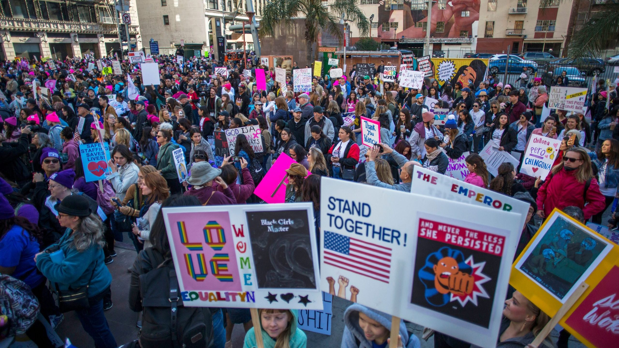 Marchers fill Pershing Sqaure during the Women's March on Jan. 18, 2020 in downtown Los Angeles. (Credit: APU GOMES/AFP via Getty Images)