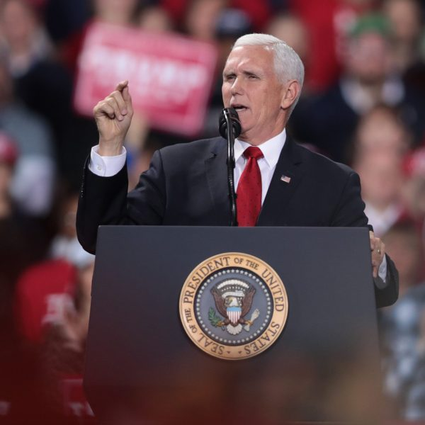 Vice President Mike Pence speaks to supporters at President Donald Trump's Merry Christmas Rally at the Kellogg Arena on Dec. 18, 2019 in Battle Creek, Michigan. (Credit: Scott Olson/Getty Images)