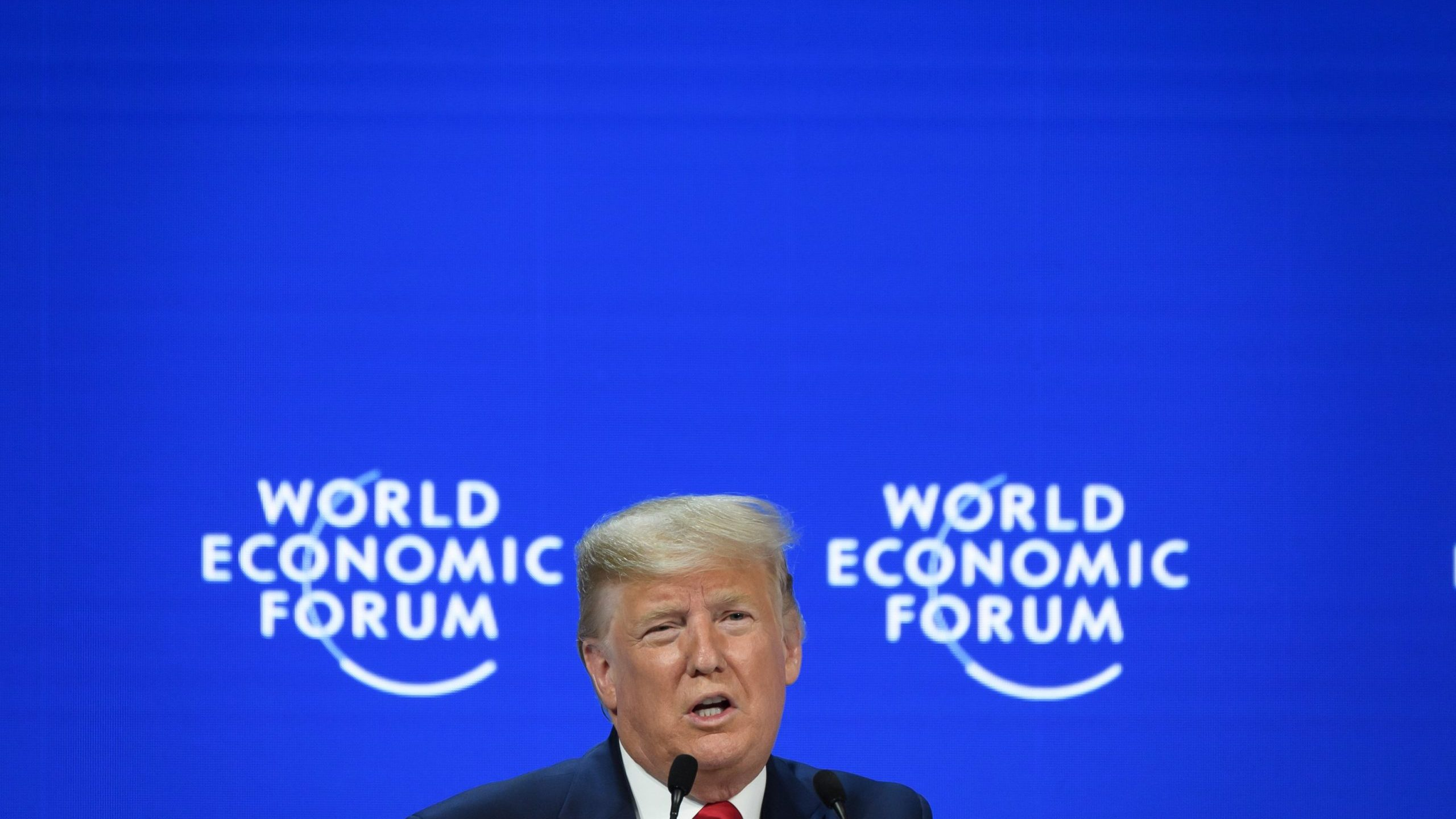 Donald Trump delivers a speech during the World Economic Forum in Davos on Jan. 21, 2020. (Credit: FABRICE COFFRINI/AFP via Getty Images)