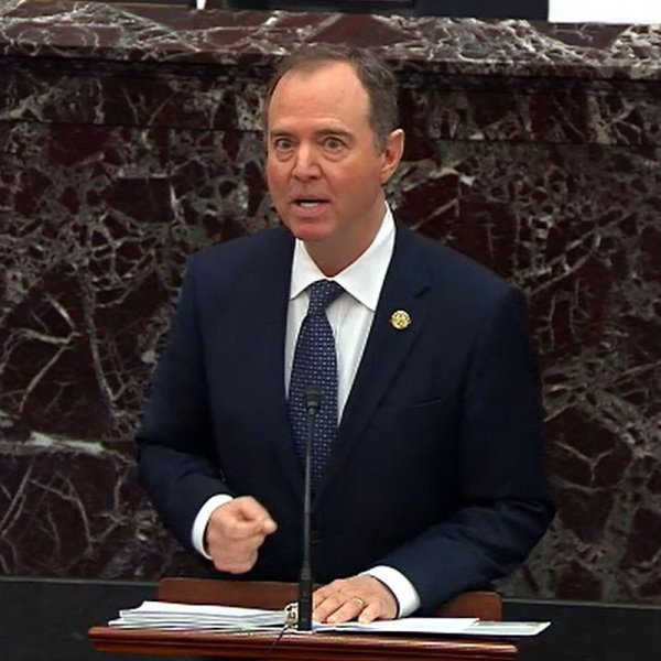 House impeachment manager Rep. Adam Schiff (D-CA) speaks during impeachment proceedings against U.S. President Donald Trump in the Senate at the U.S. Capitol on January 22, 2020 in Washington, DC. (Credit: Senate Television via Getty Images)