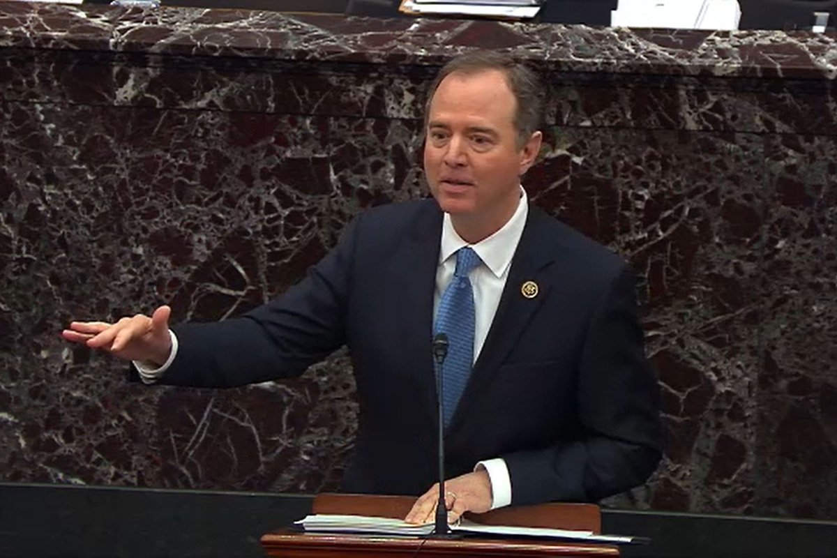 In this screenshot from a Senate Television webcast, House impeachment manager Rep. Adam Schiff speaks during the trial against President Donald Trump on Jan. 23, 2020. (Credit: Senate Television via Getty Images)
