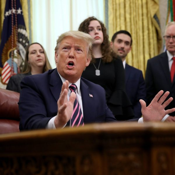 President Donald Trump speaks during an event in the Oval Office announcing guidance on constitutional prayer in public schools on Jan. 16, 2020 in Washington, D.C. (Credit: Win McNamee/Getty Images)