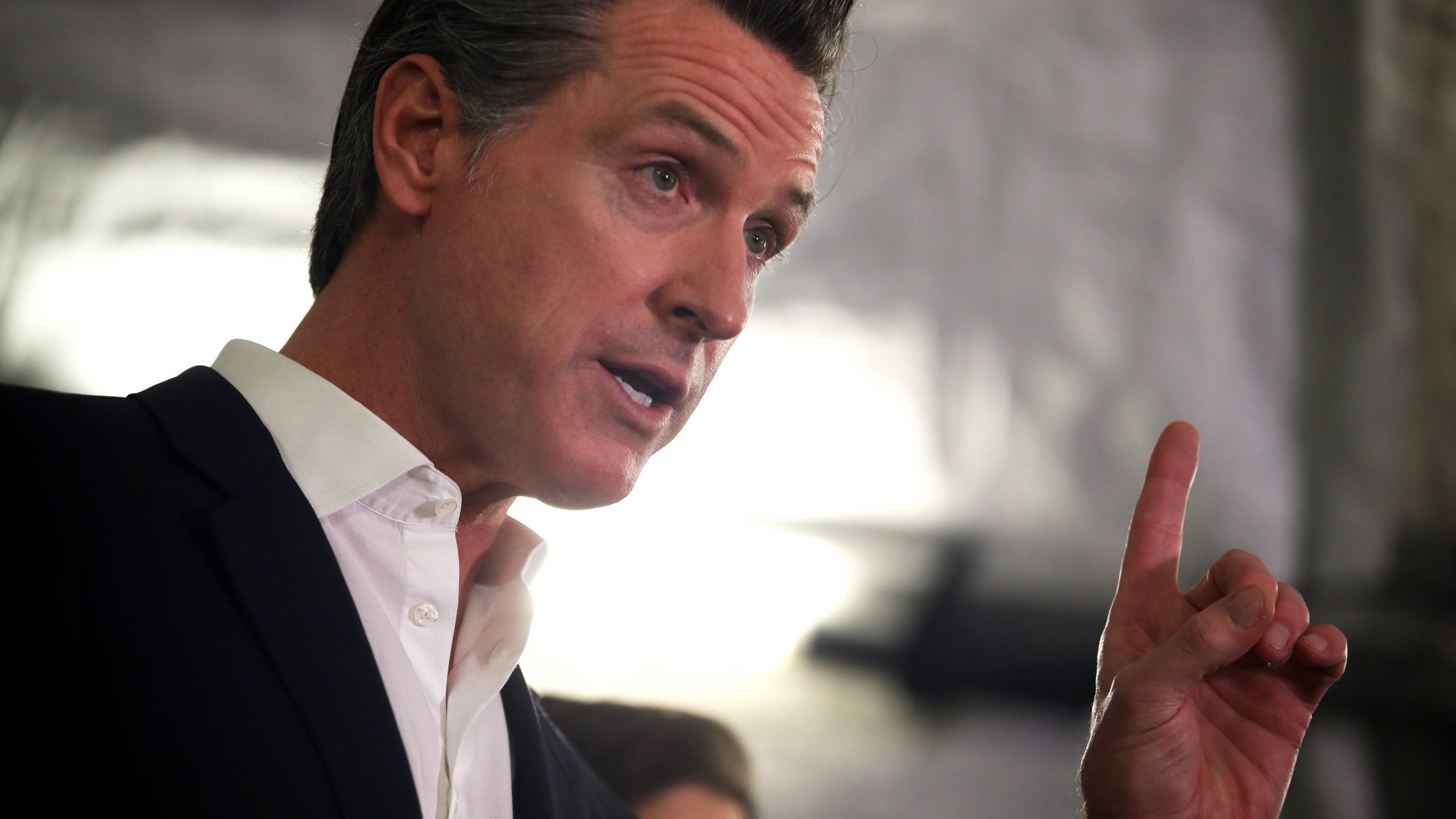 California Gov. Gavin Newsom speaks during a a news conference in Oakland about the state's efforts to address homelessness on Jan. 16, 2020. (Credit: Justin Sullivan / Getty Images)