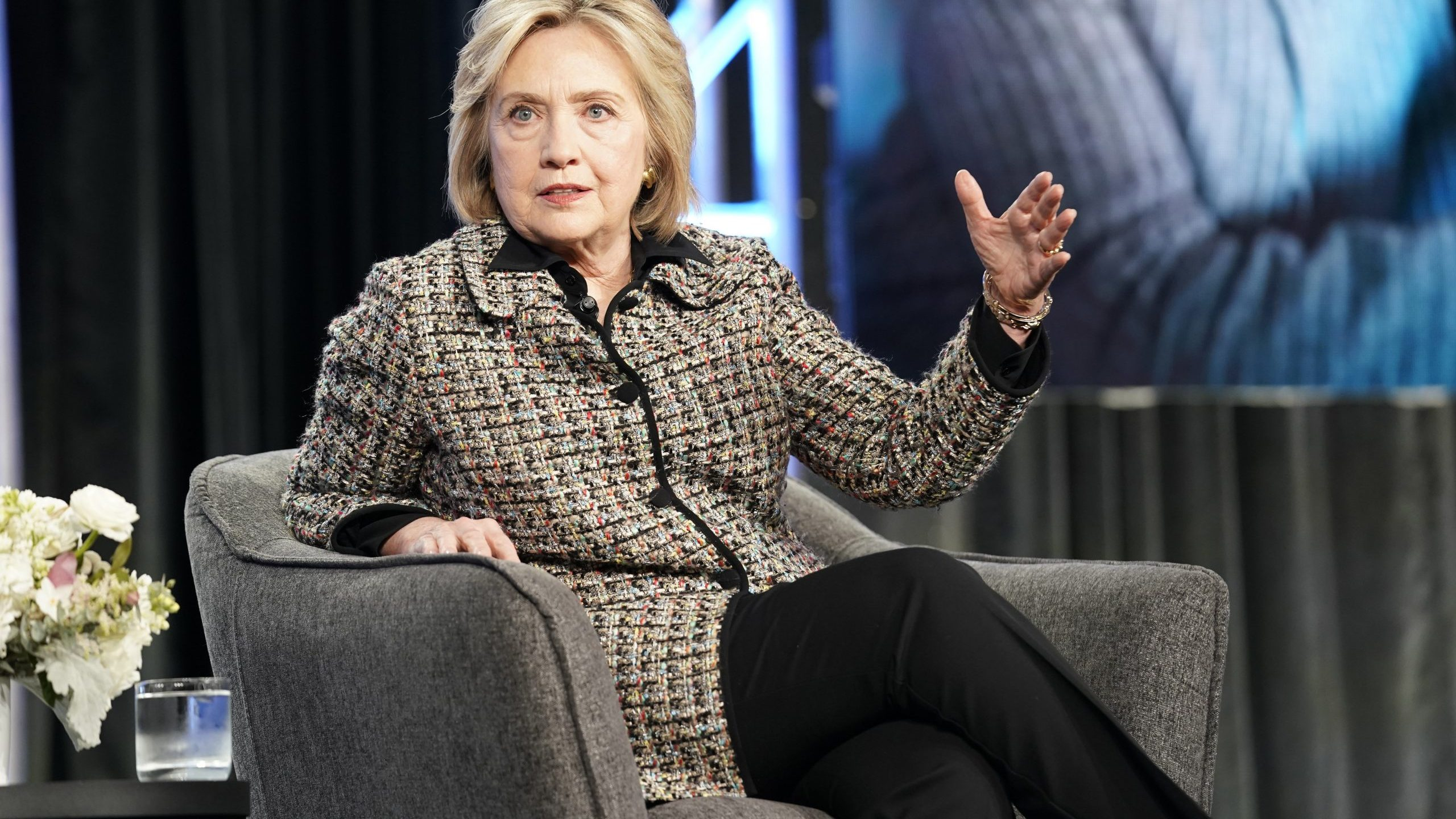 Hillary Rodham Clinton speaks onstage during the Hulu Panel at Winter TCA 2020 at The Langham Huntington, Pasadena on January 17, 2020 in Pasadena. (Credit: Erik Voake/Getty Images for Hulu)