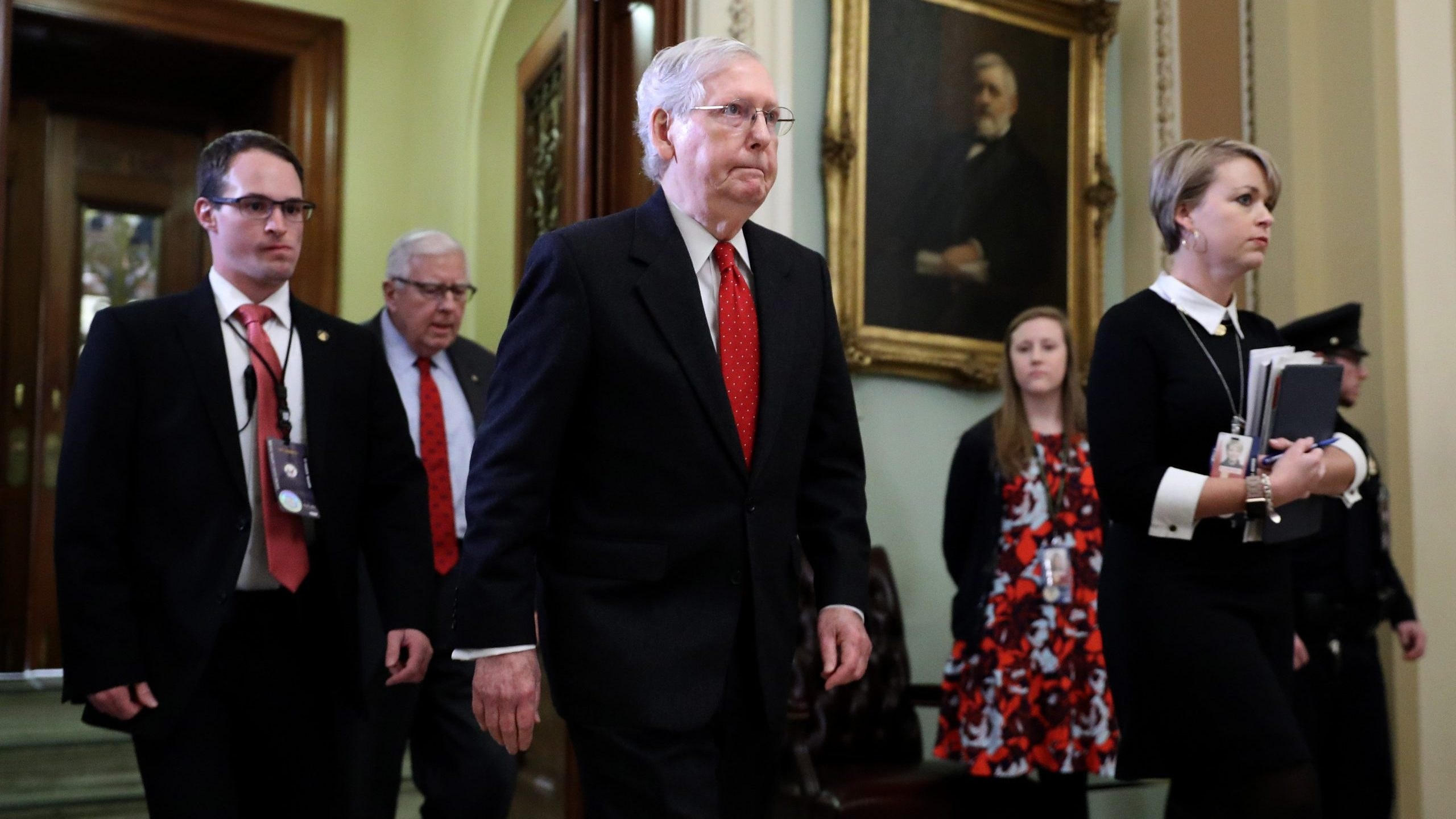 Senate Majority Leader Mitch McConnell leaves the Senate Chamber during a recess in President Donald Trump's impeachment trial on Jan. 21, 2020. (Credit: Chip Somodevilla / Getty Images)