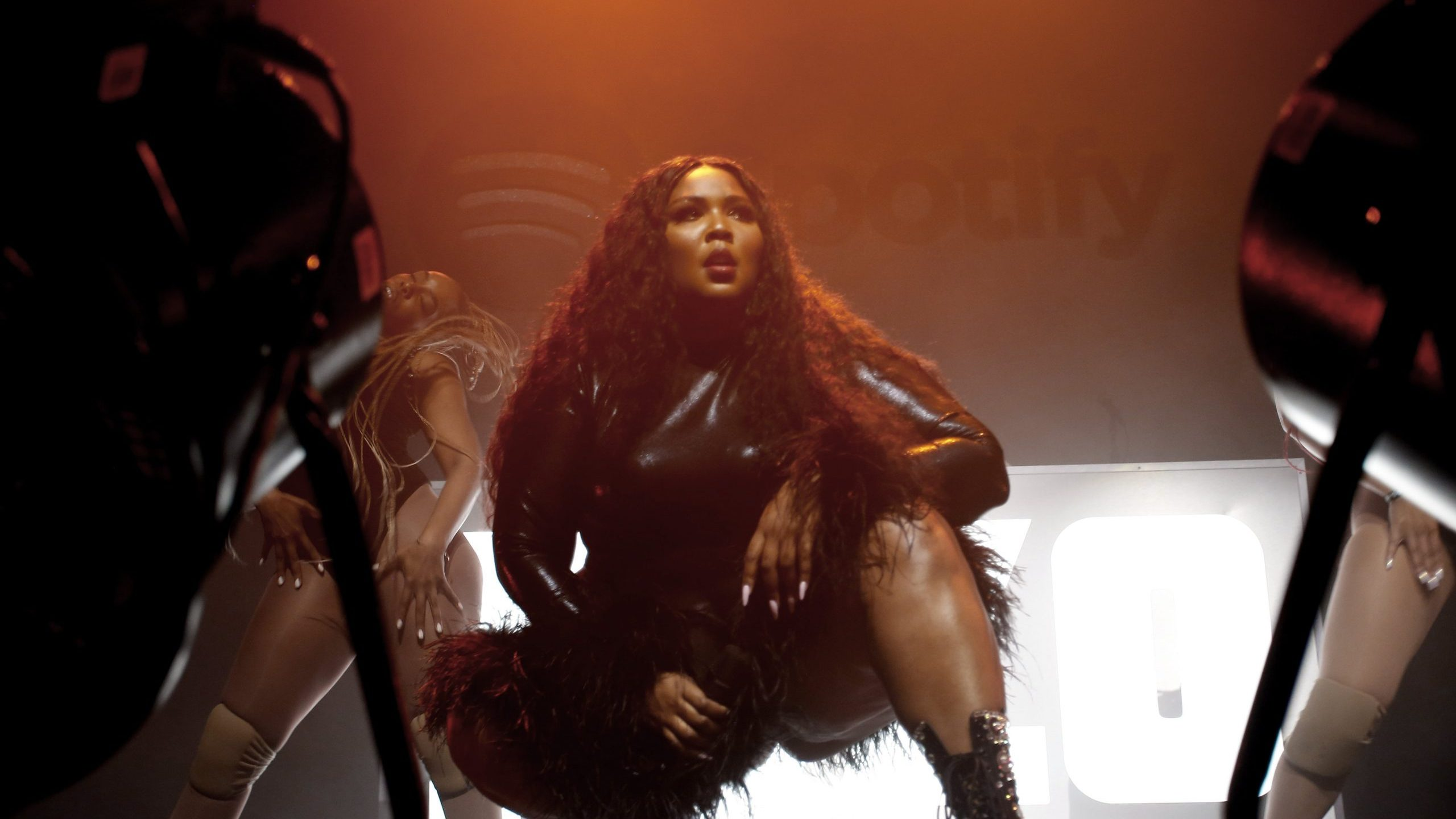Lizzo performs onstage at a Spotify party for the Grammy Awards' best new artist nominees at The Lot Studios in Los Angeles on Jan. 23, 2020. (Credit: Rachel Murray / Getty Images)