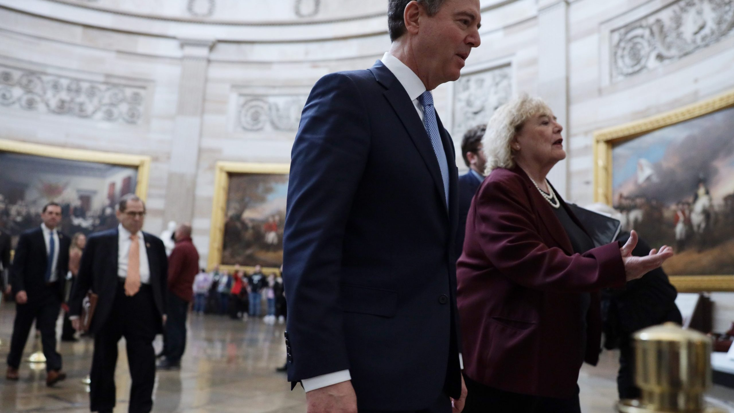 House impeachment managers Rep. Rep. Adam Schiff (D-CA) and Rep. Zoe Lofgren (D-CA) pass through the rotunda for the Senate impeachment trial against President Donald Trump at the U.S. Capitol Jan. 24, 2020 in Washington, D.C. (Credit: Alex Wong/Getty Images)