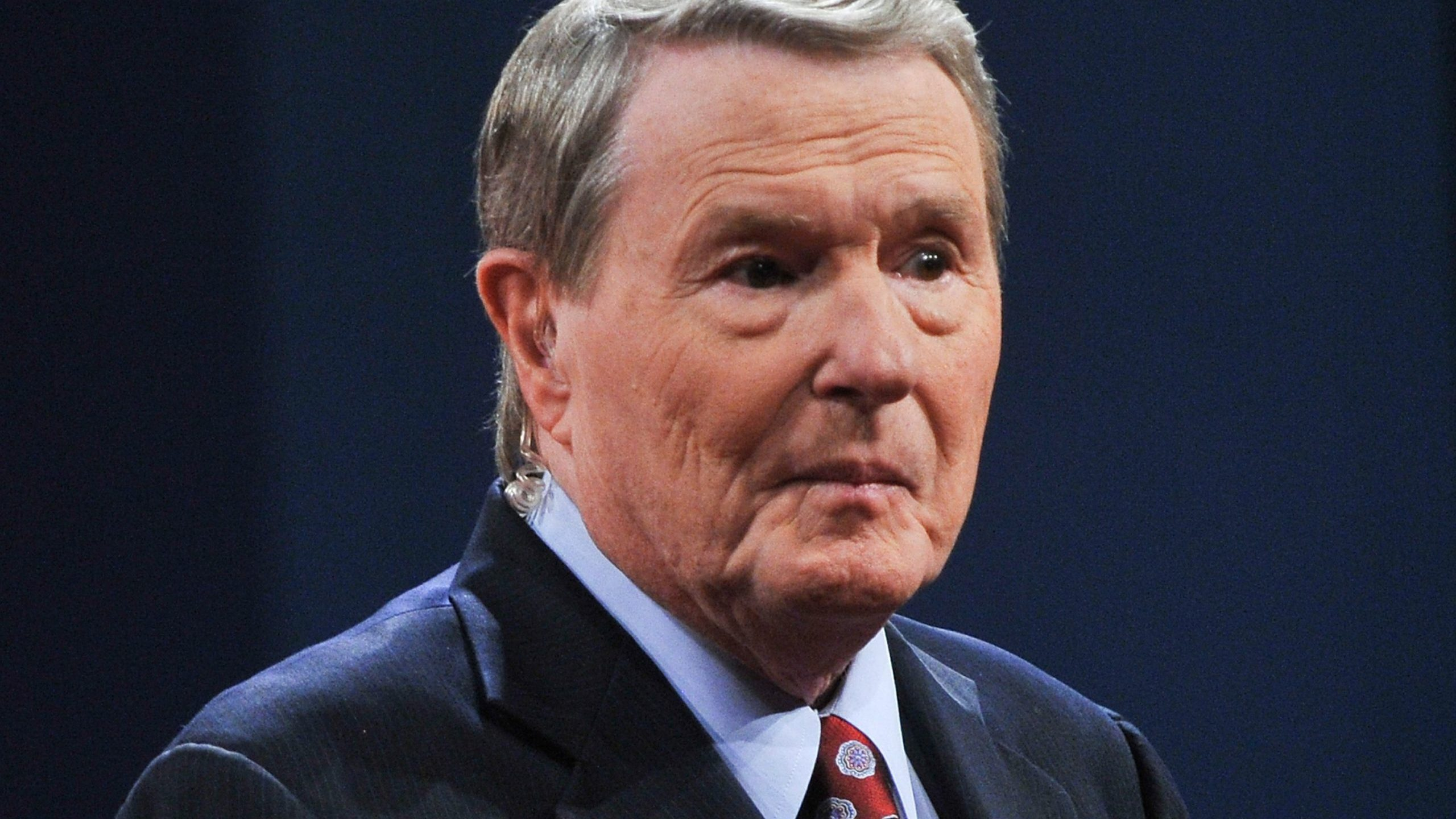 Jim Lehrer speaks to the audience before moderating the first presidential debate between President Barack Obama and Republican Mitt Romney in Denver on Oct. 3, 2012. (Credit: NICHOLAS KAMM/AFP/GettyImages)