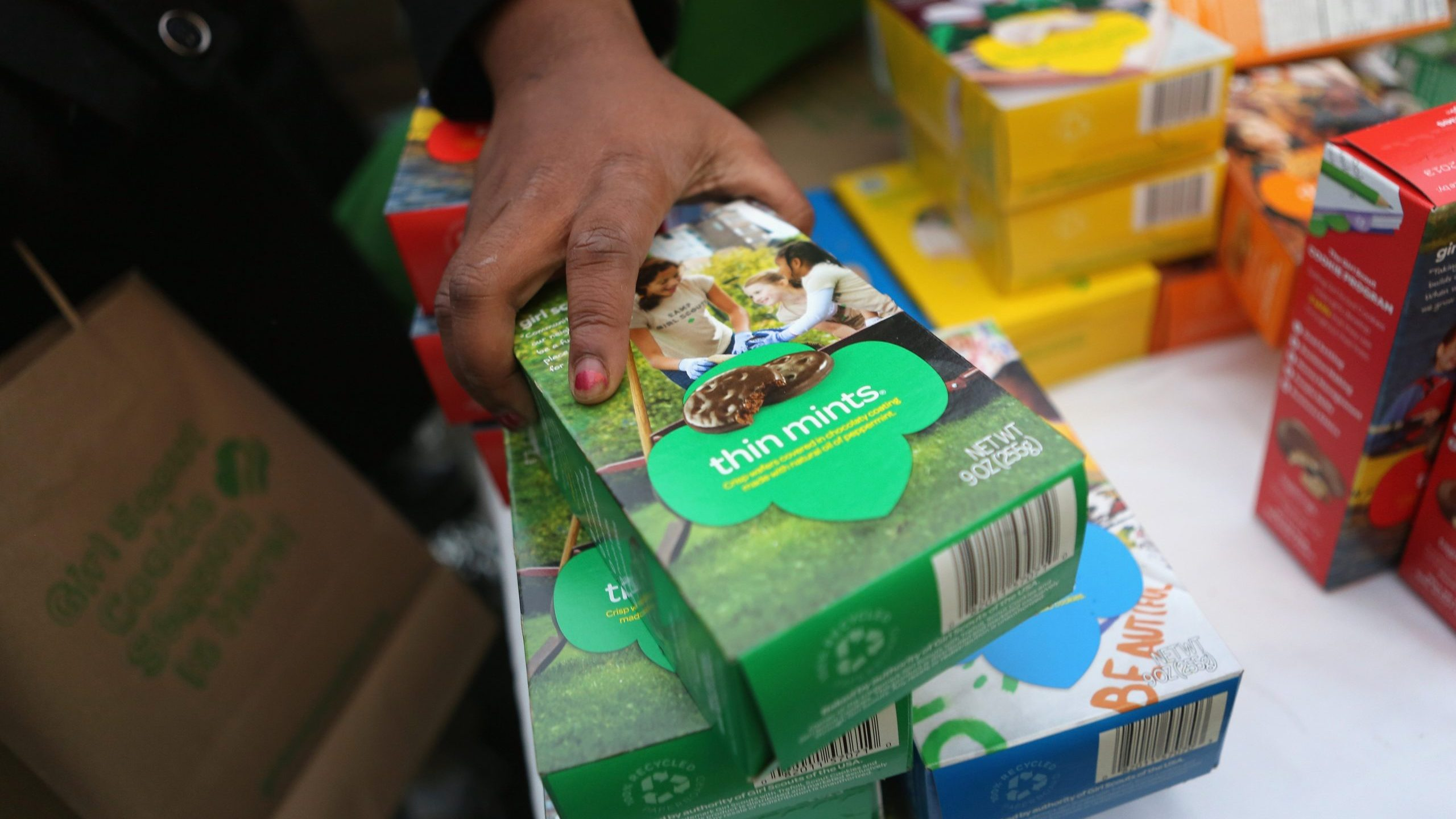 Girl Scouts sell cookies in New York City on Feb. 8, 2013 in New York City. (Credit: John Moore/Getty Images)