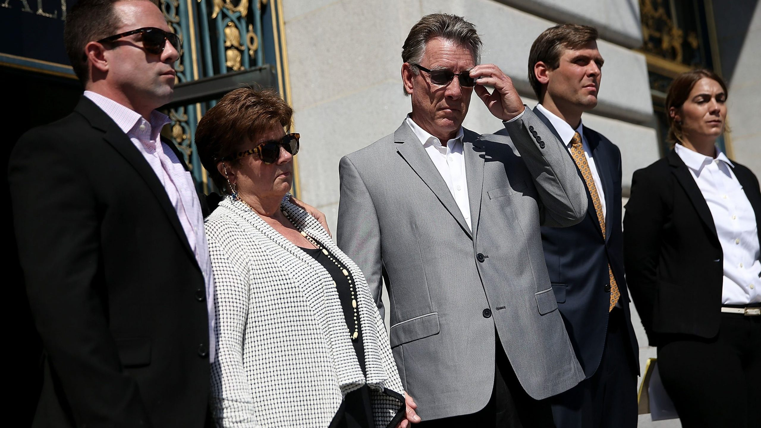From left: Brad Steinle, Liz Sullivan and Jim Steinle, the family of Kate Steinle, look on during a news conference in San Francisco announcing their lawsuit against the government on Sept. 1, 2015. (Credit: Justin Sullivan / Getty Images)
