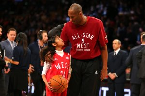 Kobe Bryant warms up with daughter Gianna Bryant during the NBA All-Star Game 2016 at the Air Canada Centre on Feb. 14, 2016, in Toronto, Ontario.(Credit: Elsa/Getty Images)