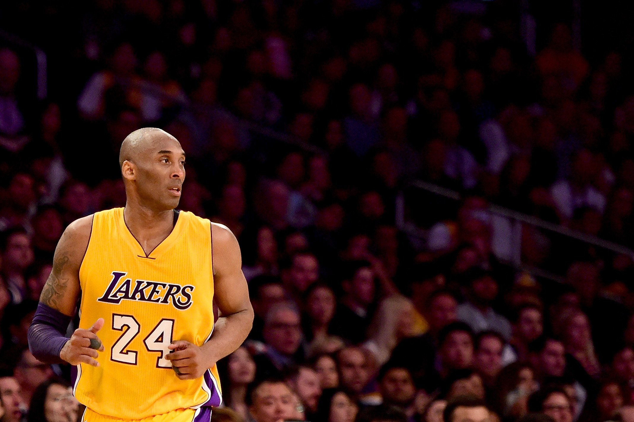Kobe Bryant is seen during a game at Staples Center on April 13, 2016. (Harry How / Getty Images)