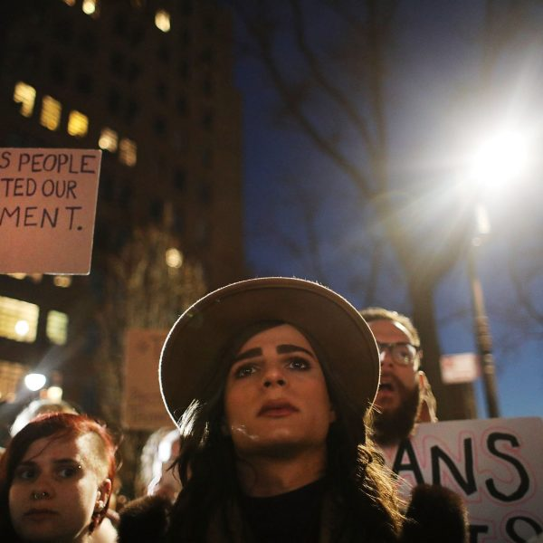Hundreds protest a Trump administration announcement that rescinds an Obama-era order allowing transgender students to use school bathrooms matching their gender identities, at the Stonewall Inn on Feb. 23, 2017, in New York City. (Credit: Spencer Platt/Getty Images)