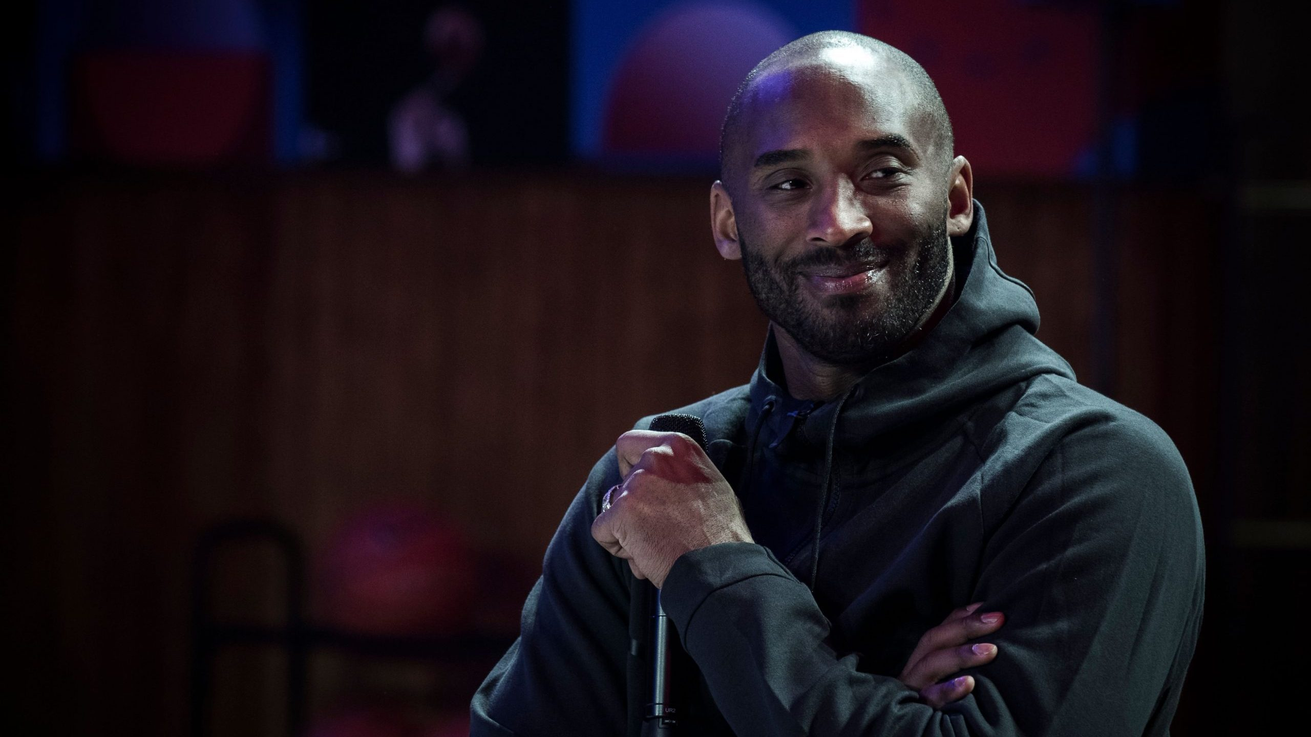 Former Laker Kobe Bryant attends a promotional event organized by Nike for the inauguration of the infrastructure improvements of a local basketball playground at the Jean-Jaures sports hall in Paris on Oct. 21, 2017. (Credit: Philippe Lopez / AFP / Getty Images)