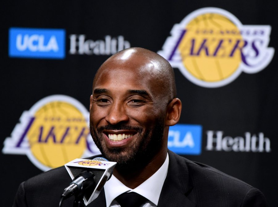 Kobe Bryant speaks to the media at a press conference before his No. 8 and No. 24 jerseys are retired by the Los Angeles Lakers at Staples Center on Dec. 18, 2017. (Credit: Harry How/Getty Images)