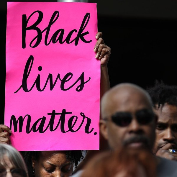 Black Lives Matter protesters are seen on April 4, 2018 in Sacramento, California. (Credit: Justin Sullivan/Getty Images)