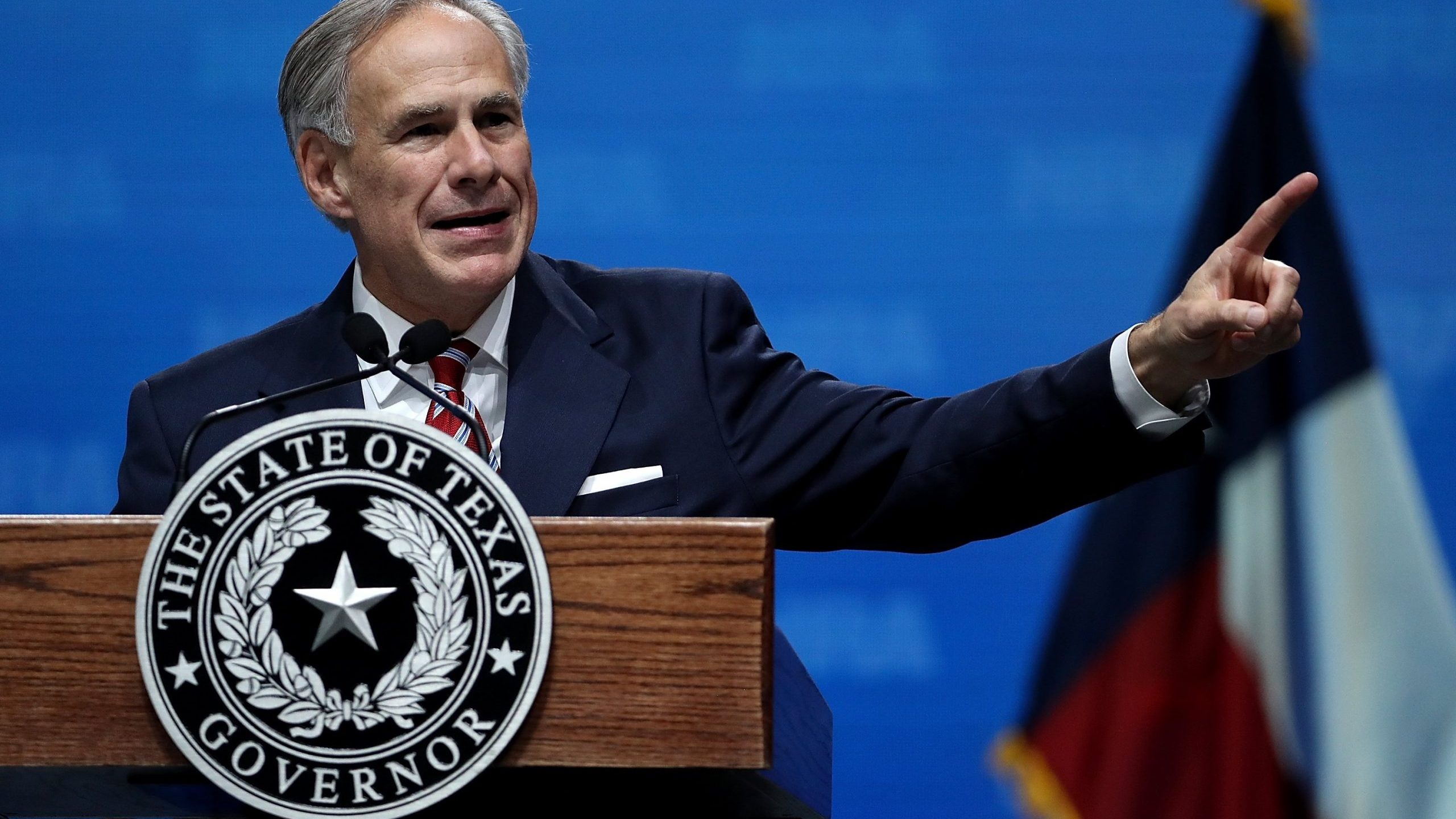 Texas Gov. Greg Abbott speaks at the NRA-ILA Leadership Forum at the Kay Bailey Hutchison Convention Center on May 4, 2018 in Dallas, Texas. (Credit: Justin Sullivan/Getty Images)