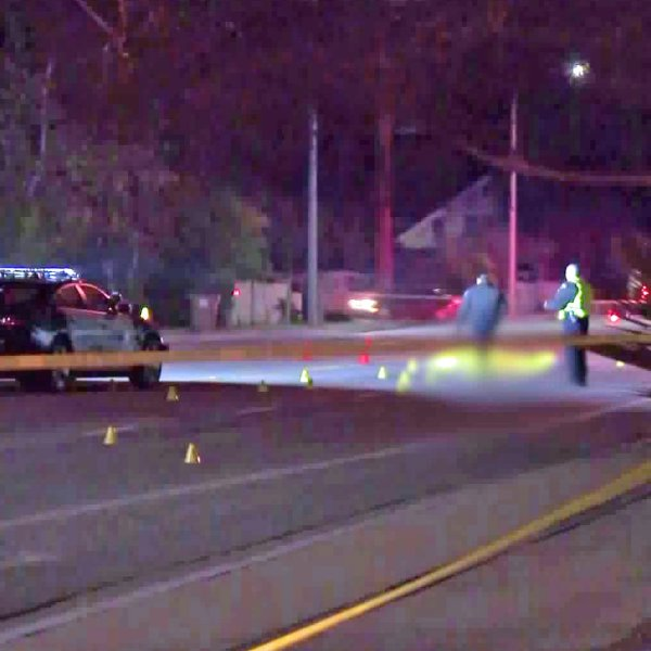 Authorities investigate a deadly hit-and-run crash in Claremont on Jan. 8, 2019. (Credit: KTLA)