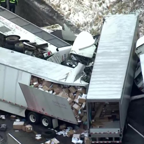 Multiple vehicles were involved in a deadly crash near Greensburg, Pennsylvania on Jan. 5, 2020. (Credit: KDKA via CNN)