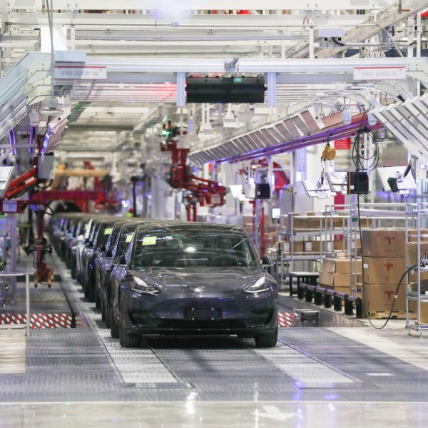 Photo taken on Jan. 7, 2020, shows China-produced sedans at Tesla's gigafactory in Shanghai. (Credit: Ding Ting/Xinhua via Getty)