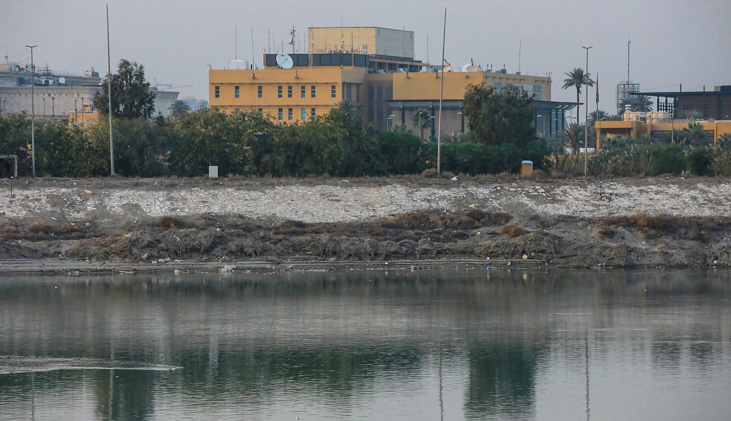 An undated photo of the US embassy compound on the banks of the Tigris River. (Credit: Ameer Al Mohmmedaw/picture alliance via Getty Images)