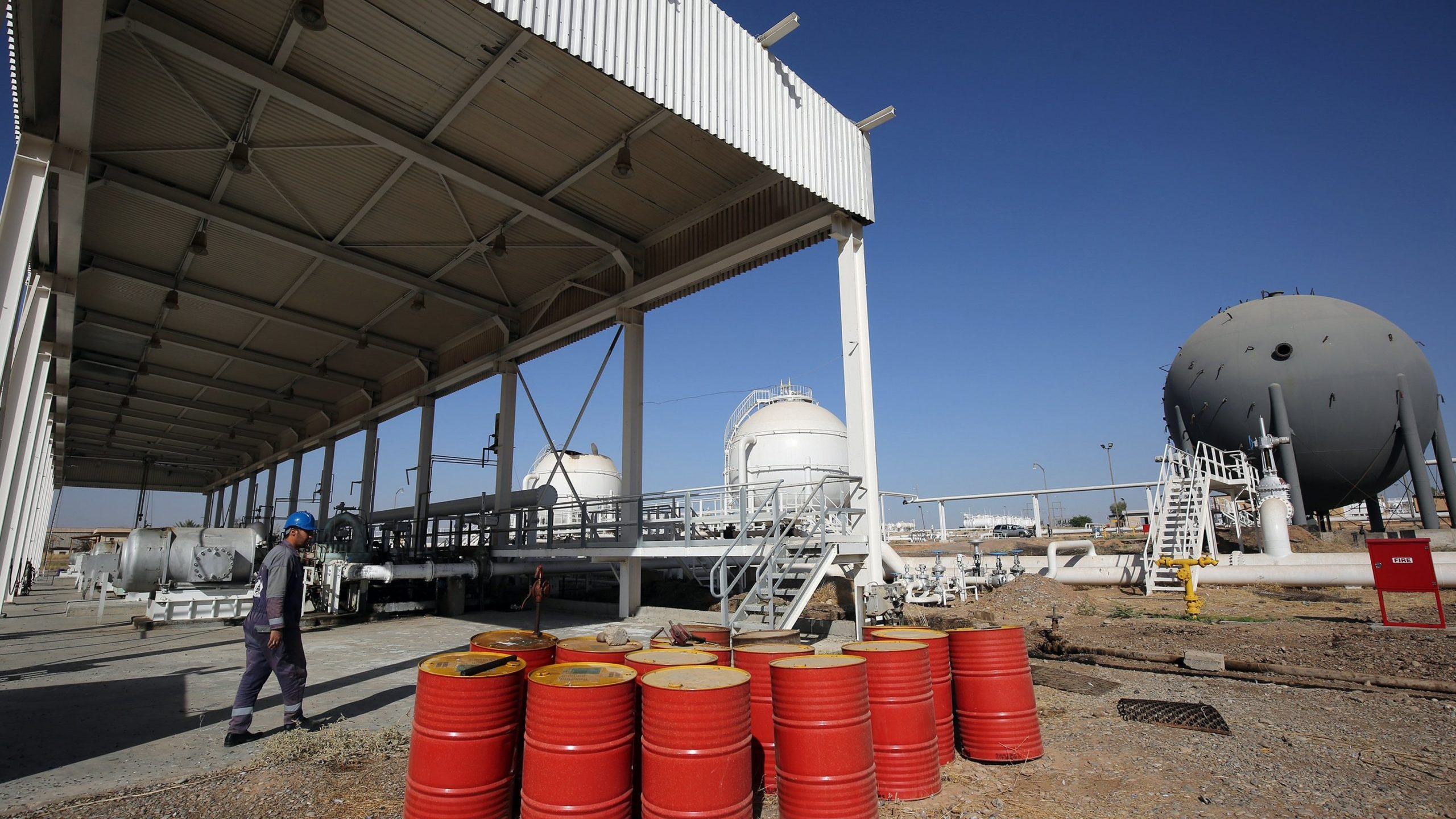 Oil barrels are shown in an Iraqi oil field in this undated photo. (Credit: AHMAD AL-RUBAYE/AFP via Getty Images)