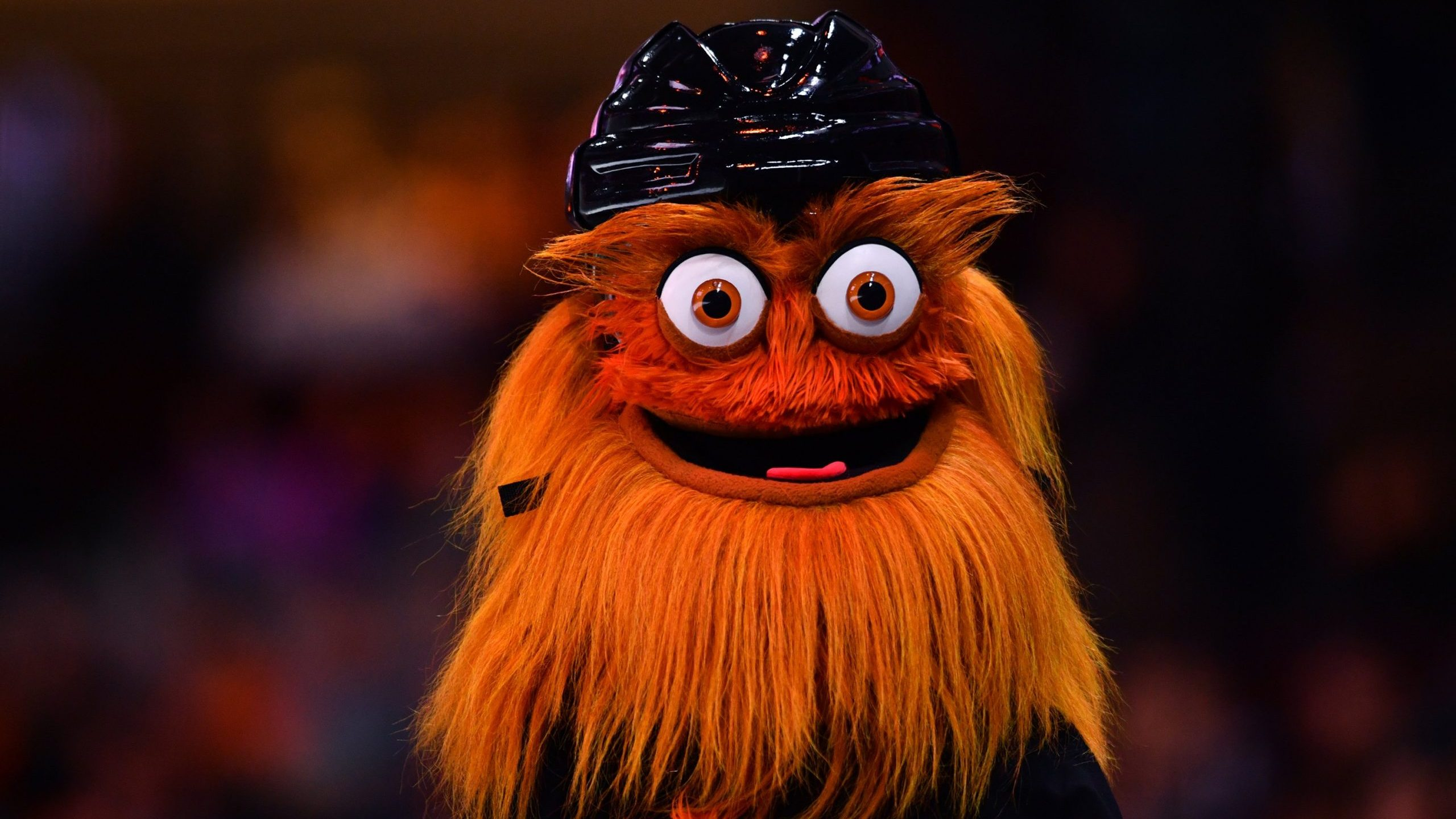 Flyers mascot Gritty looks on in the crowd during a game between the Tampa Bay Lightning and Philadelphia Flyers in Philadelphia on Jan. 11, 2020. (Credit: Kyle Ross / Icon Sportswire via Getty Images)