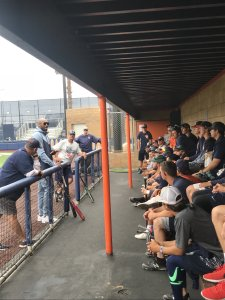 John Altobelli stands alongside Kobe Bryant as he addressed the Orange Coast College baseball team in this undated photo obtained by KTLA.