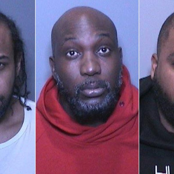 From left: Andre Andrews, Omar Miller and Devon Quinland are seen in booking photos released Jan. 23, 2020, by the Orange County District Attorney's Office.