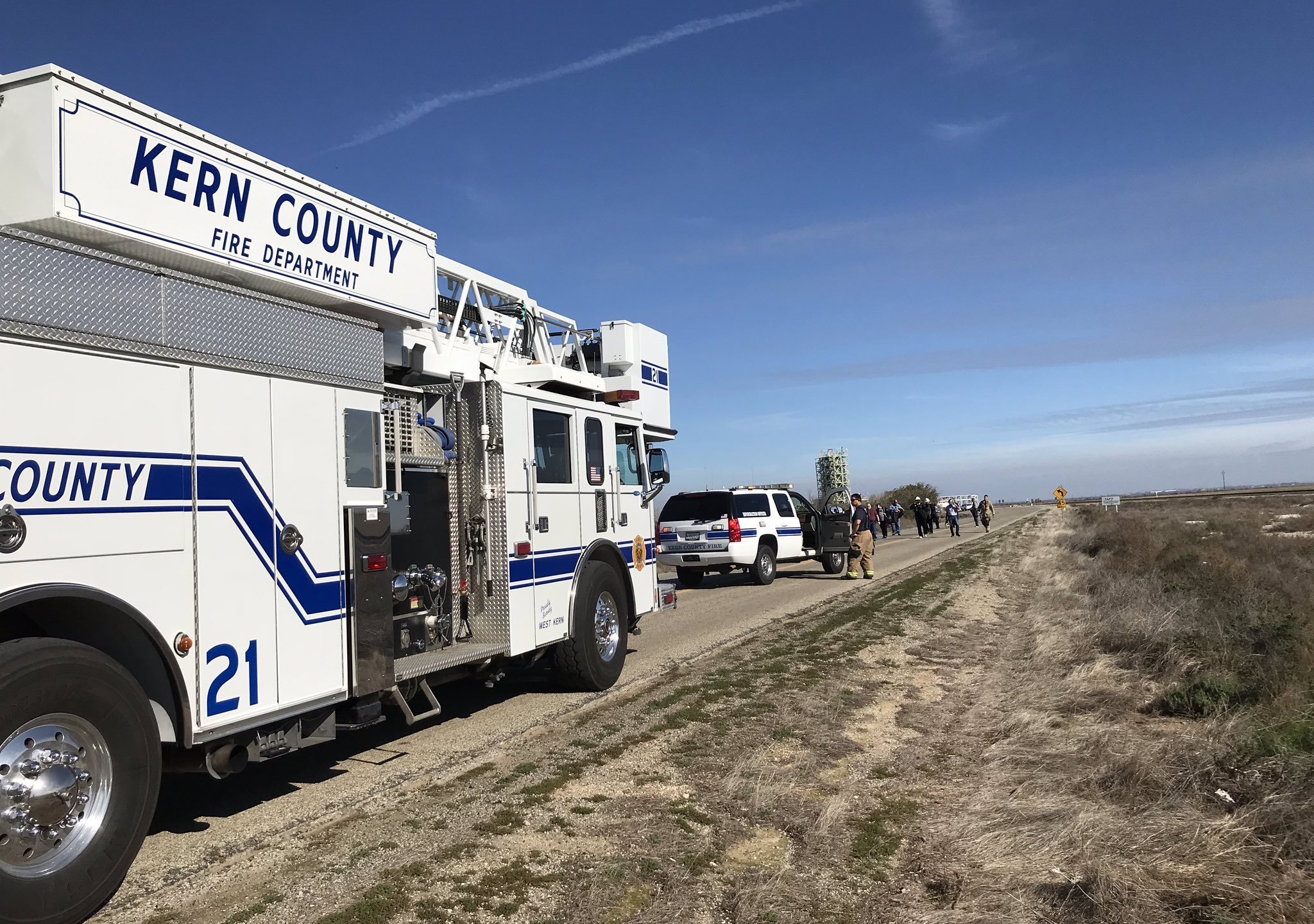 Kern County Fire Department officials tweeted this image of their response to a chemical spill near Taft on Jan. 22, 2020.