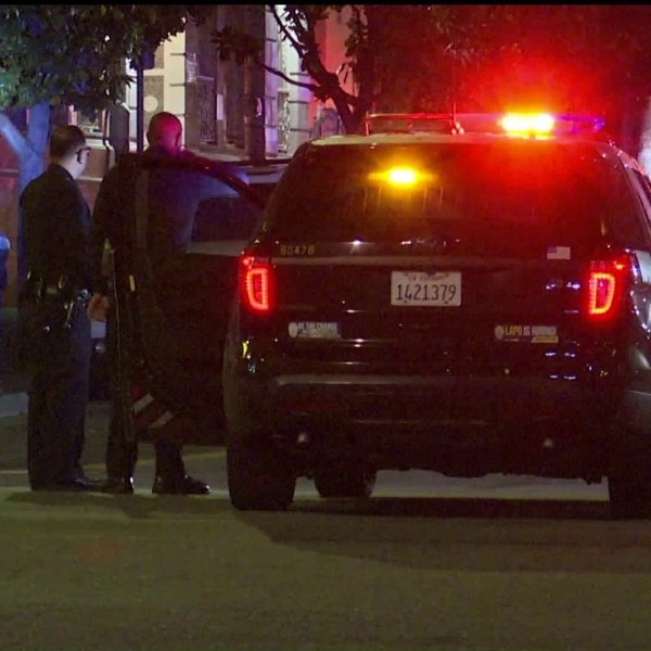 Authorities investigate after a pursuit comes to an end in Koreatown on Jan. 13, 2020. (Credit: KTLA)